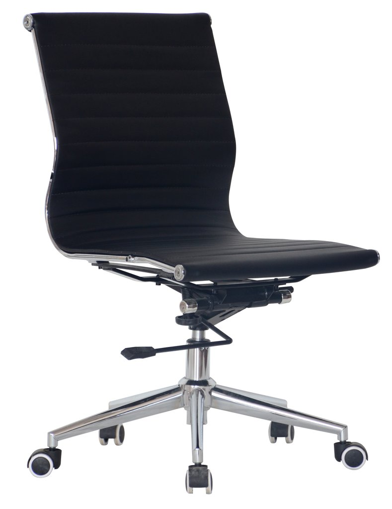 replica eames classic mid back upholstered in black pleather